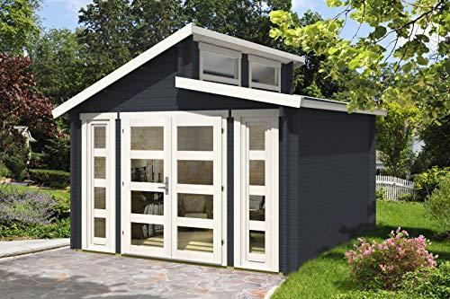 Alpholz Gartenhaus Vinea aus Massiv-Holz | Gerätehaus mit 40 mm Wandstärke | Garten Holzhaus inklusive Montagematerial | Geräteschuppen Größe: 350 x 350 cm | Doppel-Pultdach