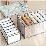 HZXY Caja de almacenamiento plegable de 2 piezas, organizador de cajones, organizador de ropa, cajón, caja divisora para pantalones, pantalones vaqueros, camiseta, legging camisa (gris)