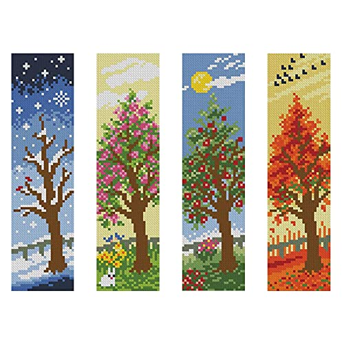 Landscape DIY Bookmark Cross Stitch 14CT Counted Embroidery Kits Art Craft