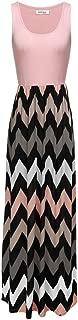 Women Boho Chevron Striped Floral Printed Summer Sleeveless Tank Long Maxi Party Dress