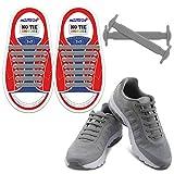 Homar sin corbata Cordones de zapatos para niños y adultos Impermeables cordones de zapatos de atletismo atlética de silicona elástico plano con multicolor de los zapatos del tablero Sneaker boots (Kid Size Gray)