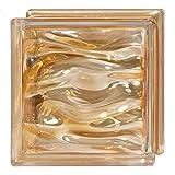 6 Piezas Bloque de vidrio Bormioli Rocco colección Agua Perla Ambra | cm 19x19x8 | Unidad de venta 1 caja de 6 pzas