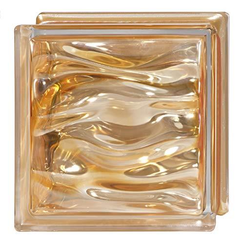 6 Piezas Bloque de vidrio Bormioli Rocco colección Agua Perla Ambra   cm 19x19x8   Unidad de venta 1 caja de 6 pzas