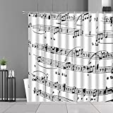 XCBN Cortina de Ducha con diseño de Teclas de Piano en Blanco y Negro, Arte Musical, decoración del hogar, Instrumentos Musicales, Notas Musicales, Cortinas de baño A2 150x200cm