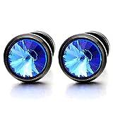 Mens Womens Black Stud Earrings with 6mm Blue Cubic Zirconia, Steel Cheater Fake Gauges Plug, 2pcs