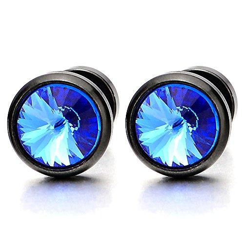 2 Negro Pendientes con Azul Circonita 6MM de Hombre Mujer, Enchufe Falso Fake Cheater Plugs Gauges, Aretes, Acero