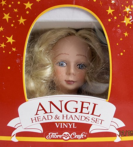FIBRE Craft BOX of 1 Hard Vinyl ANGEL Doll HEAD 3-3/4' w Long BLONDE Combable HAIR and PAIR of HANDS/Arms Each 2-7/8' Long (1991)