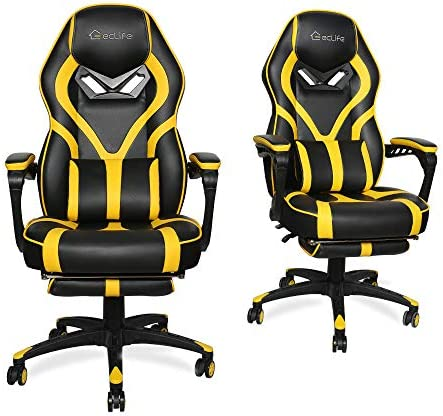 Best LUCKWIND Video Gaming Chair Racing Recliner - Ergonomic Adjustable Padded Armrest Swivel High Back A