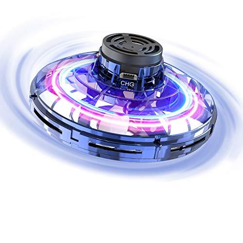 FLYNOVA Fliegendes Spielzeug, Mini-Drohne Flug Spielzeug UFO Drohne Hubschrauber Fliegender Spinner für Kinder Erwachsene, Mini Flugzeug mit 360° Drehbaren LED-Leuchten für Indoor Outdoor Geschenke