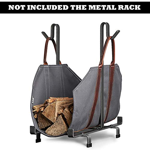 Sarissa Canvas Firewood Log Carrier Tote Carrying Bag Sturdy Fire Wood Holder with Handles Grey Fireplace Stove Accessories