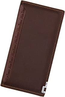 BeniNew men's wallet long multi-function pumping card type solid color casual wallet-light brown