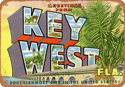 Scott397House Metal Tin Sign, Greetings from Key West Vintage Wall Plaque Man Cave Poster Decorative Sign Home Decor for Indoor Outdoor Birthday Gift 8x12 Inch