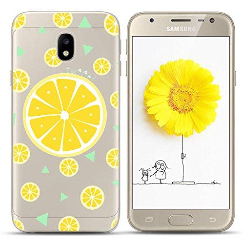 Anfire Funda para Samsung Galaxy J5 2017, Silicona Carcasa de Suave, Gel TPU Transparente Flexible Case, Ultra Ligero Cubierta Trasero, Anti-Gota Protectora Caso Bumper Fundas - Limón