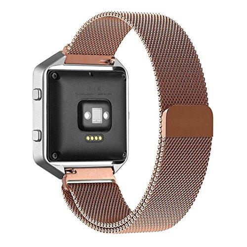 Lovedrop Fitbit Blaze pulsera Milanaise Acero Inoxidable Reloj de pulsera con cinta de cierre magnético Replacement Wrist Strap para Fitbit Blaze Smart Watch Negro, rose gold