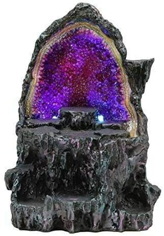 Medieval Faux Crystal Great interest Rock Geode Cheap mail order shopping with Changing Color LED Figurin