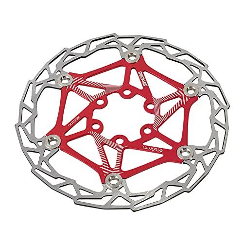 SHHMA Disco de Freno de Disco de Bicicleta, Disco Flotante de Color de 160 mm, Disco de Freno de montaña, Equipo de Montar en Disco de Seis Clavos,Rojo