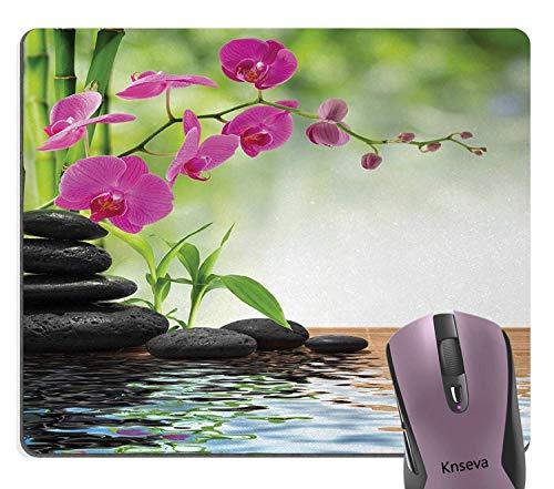 Spa Süße Mauspad, Zusammensetzung Bambusbaum Bodenmatte Rosa Orchidee Blumen Steine Wellness Grün Mauspads
