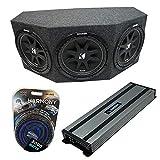 Kicker Bundle Comp C12 Triple 12' Subwoofer Loaded 1800 Watt Sub Box Enclosure & Harmony HA-A1500.1 Amp