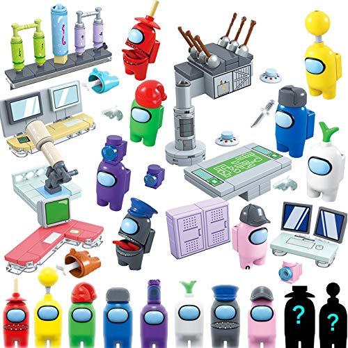 Among Us Spielzeug Anime Figur, pielfiguren Puppen BaUsteine Puzzle Montage Spielzeug Sammlung Party Geschenk für Spielefans (8 Kartons, darunter Zwei unsichtbare Minifiguren)