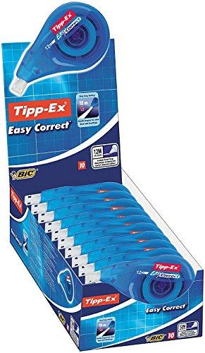 Tipp-Ex Korrekturroller Easy Correct zum seitlichen Korrigieren, 12m x 4.2mm, 10er Pack, Ideal für das Büro, das Home Office oder die Schule