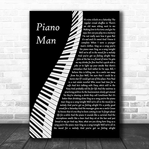 Piano Man Piano Song Lyric Quote Muziek Poster Print Large A3