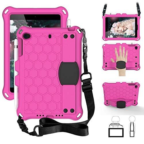 SMZNXF Tablet PC case,Cover for ipad mini 5 kids handle nontoxic protective EVA tablet PC case for Apple ipad mini 4 3 2 1 mini 2019 7.9,Rose Red