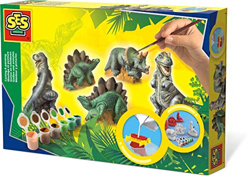 SES 1406 creative SES Gießen und anmalen Dinos Gips-& Mal-Set, Multi
