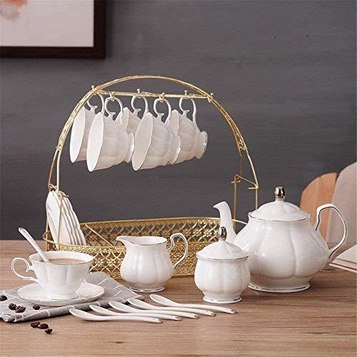 Tetera Inicio de té Simple Conjunto de 16 Piezas del Accesorio de Oro de la Tarde Té Vaso Juego de café de Porcelana vidriada Servicio de café y té con PORTAVASOS 6 Copas Pieza y Bandeja té