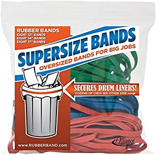Alliance Rubber 08997 SuperSize Bands, Assorted Large Heavy Duty Latex Rubber Bands - 24 Pack, includes 8 bands of each size (12