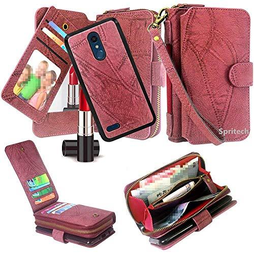 Spritech LG Stylo 4 Hülle, LG Q Stylus Case, luxuriös, stoßfest, PU-Leder, mit Reißverschluss, Kartenfächern, Handschlaufe, magnetisch, abnehmbare Rückseite für LG Stylo 4 2018/LG Q Stylus LG G7 Wein