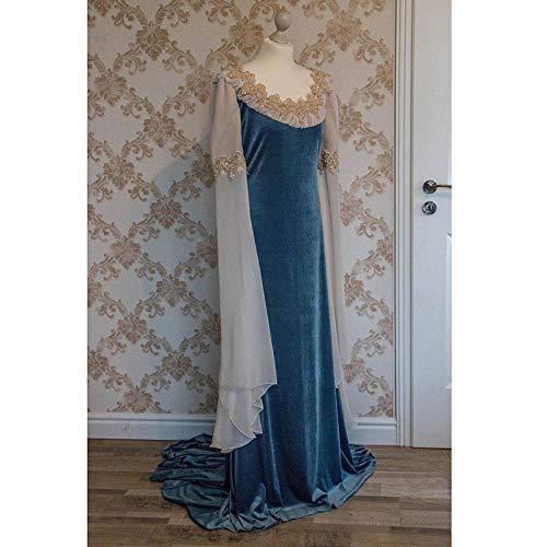 B/H Vestido Medieval Renacimiento Mujer Vintage,Vestido Medieval de Encaje renacentista de Halloween-Blue_XXL,Medieval Vestido de Halloween