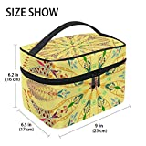 TIZORAX - Neceser de viaje con diseño de mandala hippie, color amarillo, grande, organizador de maquillaje para mujeres y niñas