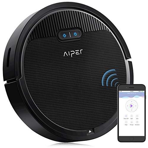 Robot Aspirapolvere AIPER, 1800pa Aspirazione, ConnessioneWiFi, Tecnologia Dirt Detect, Ideale per Tappeti e Pavimenti,Peli degli Animali Domestici (Nero1)