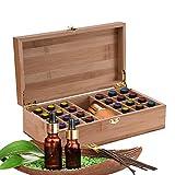 Gracelaza Boîte de Stockage Rangement en Bambou pour Huile Essentielle Aromathérapie - Coffret en Bois pour 25 Bouteilles (5-15 ML) - Idéal Organisateur pour Voyage et Présentation #1