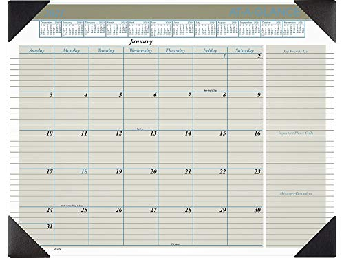 """AT-A-GLANCE Executive Monthly Desk Pad, 21-3/4"""" x 17"""", Black/Blue/White, January to December 2021, HT1500"""