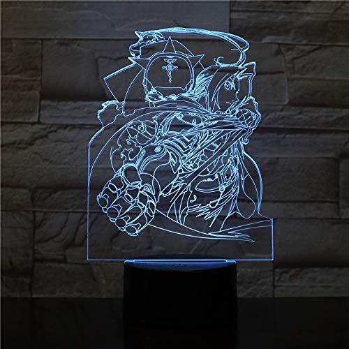 Jongen Kind Kind Baby Cadeau Japans Anime Fullmetal Alchemist Tafellamp Nachtkastje USB 3D Led-Nachtlampje