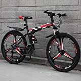TopBlïng Ligero Mini Bicicleta Plegable,Portátil Ciudad Folding Bike Compacto Adulto Bike,26 Pulgadas Bicicleta De Montaña,con Defensas Freno De Disco Doble-J 27 Velocidades