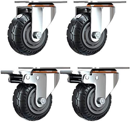 Heavy Duty Ruedas 3 pulgadas / 4 pulgadas for transporte industrial Ruedas de 75 mm / 100 mm con articulación universal silencioso ruedas de caucho con freno Muebles doble cojinete for el equipo de 56