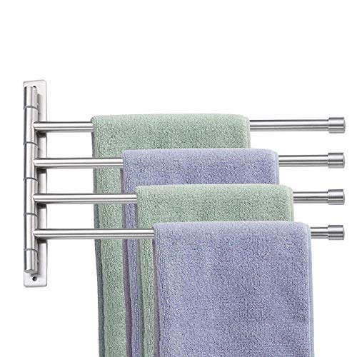 Swivel Towel Bar with 4 Arms Wall Mounted Towel Rail Stainless Steel Towel Rack Towel Holder Organizer 180° Rotation Brushed Finish for Bathroom Kitchen