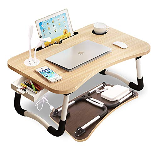 "Hegreh Lap Desk for Bed Fits up to 17″ Laptops with Storage Drawer,Light,Phone/Cup Holder, Laptop Bed Tray Table, 23.6"" Foldable Laptop Desk, Laptop Stand for Working, Writing,Reading and Breakfast"
