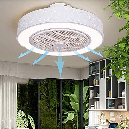 LLLKKK Lámpara de techo moderna con ventilador de techo, mando a distancia, con kit de luces LED de 3 colores, regulable, para salón, dormitorio, estudio, lámpara de ventilador invisible