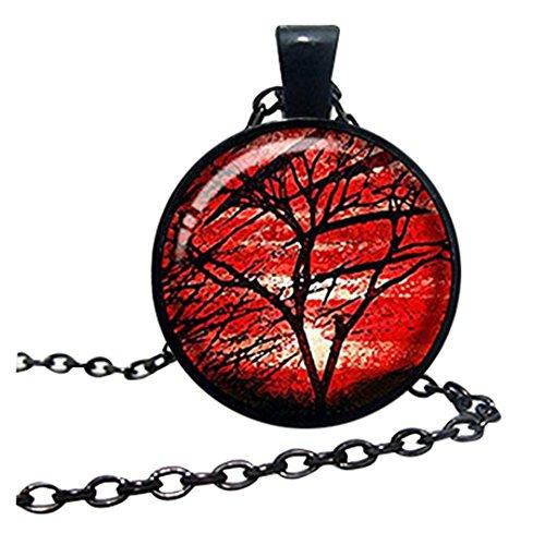 Hermoso collar de árbol de la vida, joyería roja del árbol de la vida, colgante de árbol de la vida, joyería hecha a mano, idea de regalo de familia de amigos