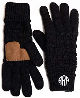 Monogrammed Knit Winter Gloves for Women - Personalized Ladies Gloves with Embroidered Monograms