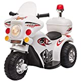 HOMCOM Kids 6V Electric Ride On Motorcycle 3 Wheel Vehicle Lights Music Horn Storage Box Outdoor Toy for 18 - 36 Months White
