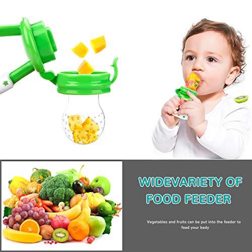 Laelr Fruchtsauger für Baby, 4 Stück Schätzchen Schnuller Gemüse sauger für Schätzchen Schnuller Beißring für Obst Gemüse Brei - 4