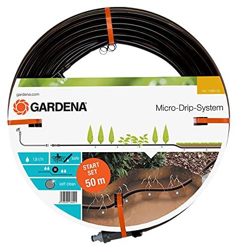 Gardena Start-Set Tropfrohr für Pflanzenreihen unterirdisch 13.7 mm: Wassersparender Tropfschlauch zur gezielten, gleichmäßigen Bewässerung (1389-20)