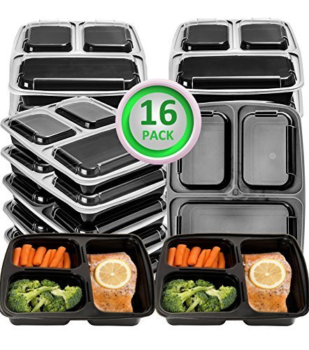 Green vege Bento Meal Prep Containers 3 Compartment ...