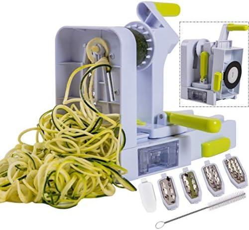 Brieftons QuickFold 5 Blade Spiralizer Versatile Compact Foldable Vegetable Spiral Slicer Best product image