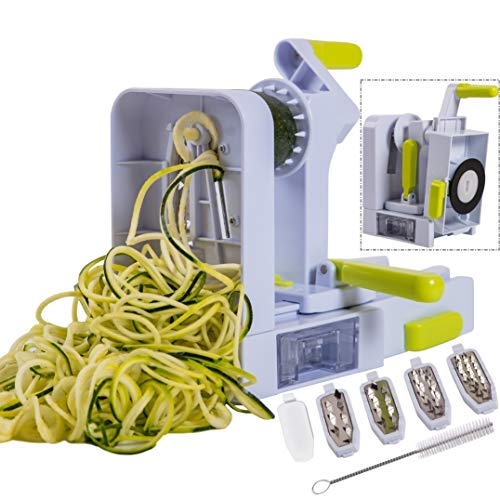 Brieftons QuickFold 5-Blade Spiralizer: Versatile & Compact Foldable Vegetable Spiral Slicer, Best Veggie Pasta Spaghetti Maker for Low Carb/Paleo/Gluten-Free with Brush & 4 Recipe Ebooks