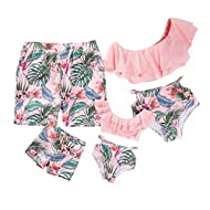 IFFEI Family Matching Swimwear Two Pieces Bikini Set 2020 Newest Printed Ruffles Mommy and Me Bathing Suits